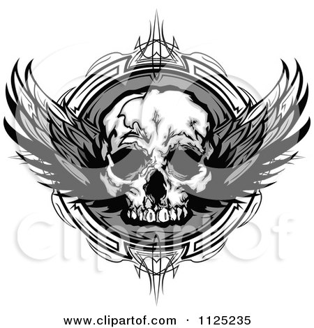Clipart Of A Grayscale Winged Human Skull Over An Ornate Circle - Royalty Free Vector Illustration by Chromaco