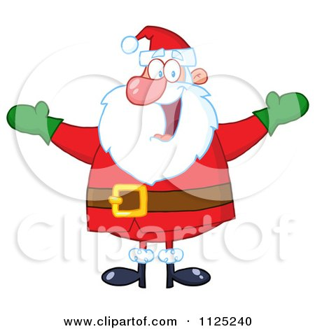 Cartoon Of A Cheerful Santa Holding Up His Arms - Royalty Free Vector Clipart by Hit Toon