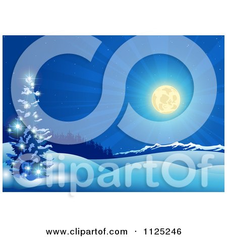 Clipart Of A Shining Full Moon Over A Winter Landscape At Night - Royalty Free Vector Illustration by dero