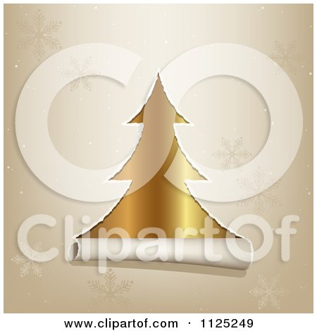 Clipart Of Torn Paper Revealing A Gold Christmas Tree Through A Snowflake Pattern - Royalty Free Vector Illustration by dero