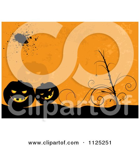 Clipart Of A Grungy Orange Halloween Jackolantern Pumpkin Background - Royalty Free Vector Illustration by dero