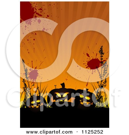 Clipart Of A Grungy Orange Halloween Jackolantern Pumpkin Background With Rays - Royalty Free Vector Illustration by dero