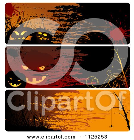 Clipart Of Grungy Halloween Website Banners - Royalty Free Vector Illustration by dero
