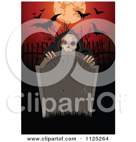 Cartoon Of A Creepy Skeleton Behind A Rip Tombstone With A Full Moon And Bats - Royalty Free Vector Clipart by Pushkin