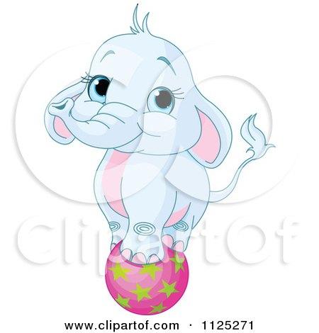Cartoon Of A Cute Blue Elephant Balancing On A Ball - Royalty Free Vector Clipart by Pushkin
