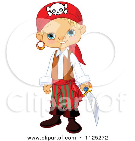 Cartoon Of A Cute Blond Pirate Boy Holding A Sword And Smiling - Royalty Free Vector Clipart by Pushkin