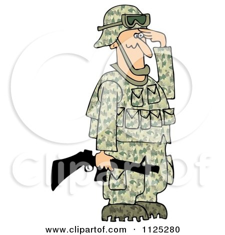 Cartoon Of An Army Soldier Holding A Gun And Saluting - Royalty Free Clipart by djart
