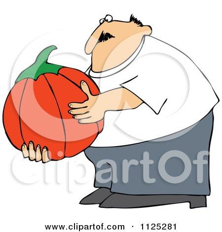 Cartoon Of A Chubby Man Holding A Large Halloween Pumpkin - Royalty Free Vector Clipart by djart