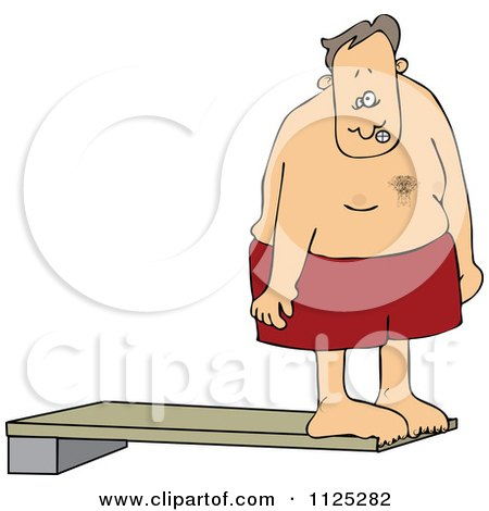 Cartoon Of A Nervous Man On A High Dive Board - Royalty Free Vector Clipart by djart