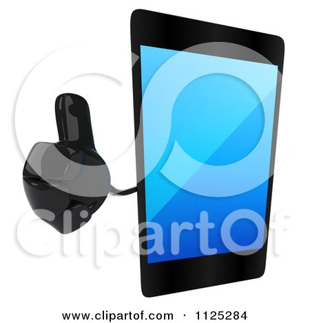 Clipart Of A 3d Smart Touch Screen Cell Phone Character Holding A Thumb Up - Royalty Free CGI Illustration by Julos