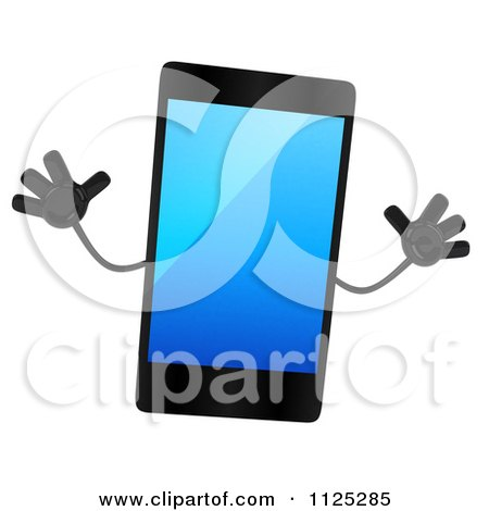 Clipart Of A 3d Smart Touch Screen Cell Phone Character Jumping - Royalty Free CGI Illustration by Julos