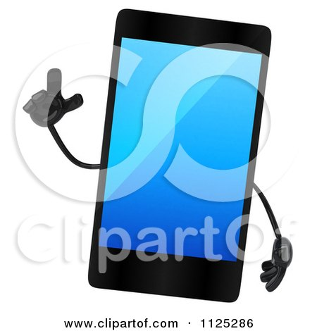 Clipart Of A 3d Smart Touch Screen Cell Phone Character With An Idea - Royalty Free CGI Illustration by Julos