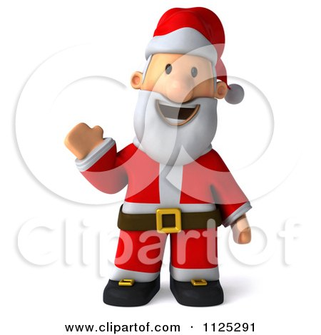 Clipart Of A 3d Christmas Santa Waving - Royalty Free CGI Illustration by Julos