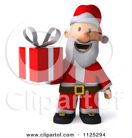 Clipart Of A 3d Christmas Santa Holding A Present - Royalty Free CGI Illustration by Julos