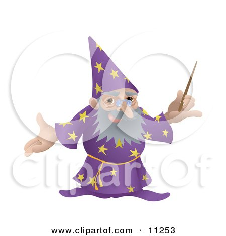 Old Male Wizard Holding a Magic Wand Clipart Illustration by AtStockIllustration