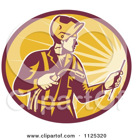 Clipart Of A Retro Worker Using A Welding Torch In A Ray Oval - Royalty Free Vector Illustration by patrimonio