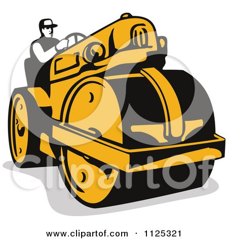 Clipart Of A Retro Worker Operating A Road Roller - Royalty Free Vector Illustration by patrimonio