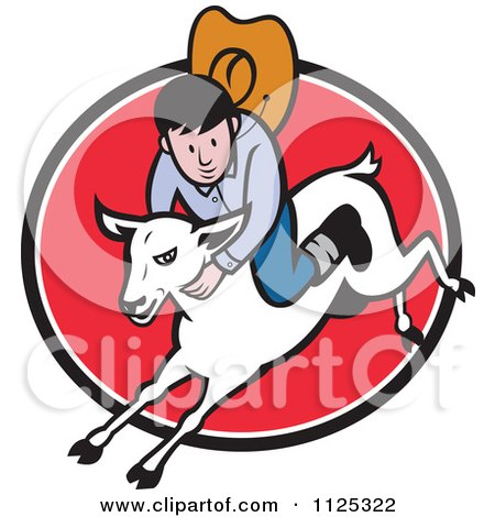 Cartoon Of A Junior Rodeo Cowboy On A Sheep Over A Red Oval - Royalty Free Vector Clipart by patrimonio