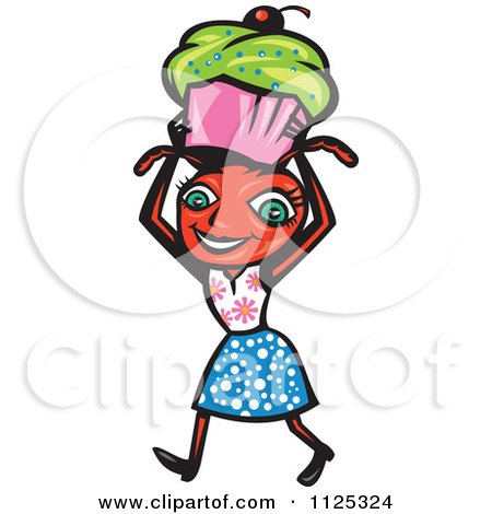 Cartoon Of Female Ant Carrying A Cupcake - Royalty Free Vector Clipart by patrimonio