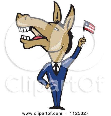 Cartoon Of A Democratic Donkey In A Suit Waving An American Flag - Royalty Free Vector Clipart by patrimonio