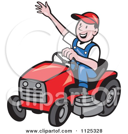 Happy Landscaper Waving And Operating A Lawn Mower Posters, Art Prints