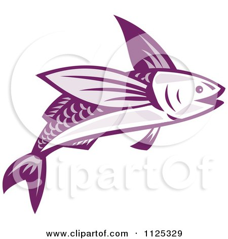 Clipart Of A Retro Purple Flying Fish - Royalty Free Vector Illustration by patrimonio