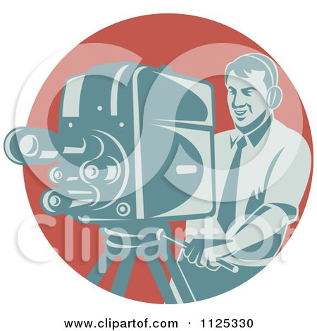 Clipart Of A Retro Camera Man Working Over A Red Circle - Royalty Free Vector Illustration by patrimonio