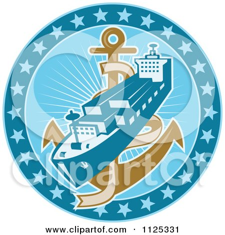 Clipart Of A Retro Cargo Ship And Anchor In A Blue Circle Of Stars - Royalty Free Vector Illustration by patrimonio