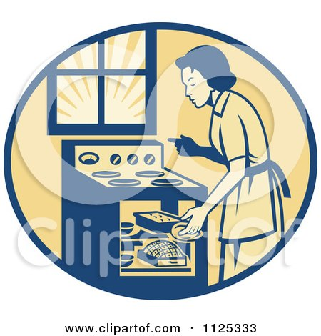 Clipart Of A Retro House Wife Cooking Meats In An Oven - Royalty Free Vector Illustration by patrimonio