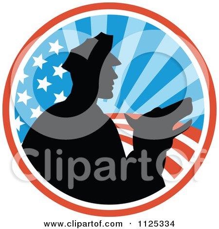 Clipart Of A Silhouetted Security Guard And Dog Over An American Circle - Royalty Free Vector Illustration by patrimonio