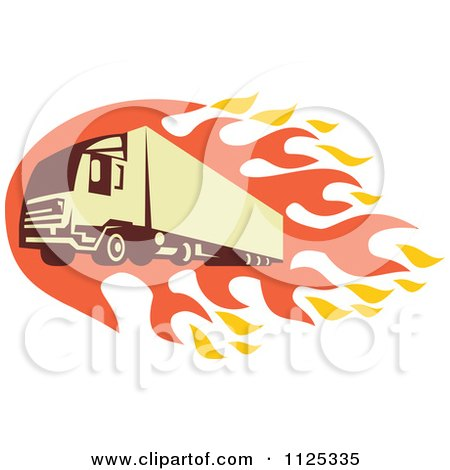 Clipart Of A Retro Big Rig Truck With Flames - Royalty Free Vector Illustration by patrimonio