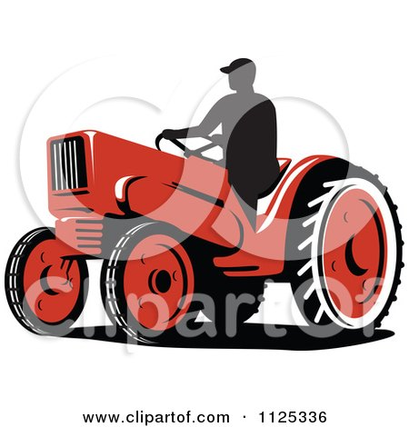 Clipart Of A Silhouetted Retro Farmer On A Tractor - Royalty Free Vector Illustration by patrimonio