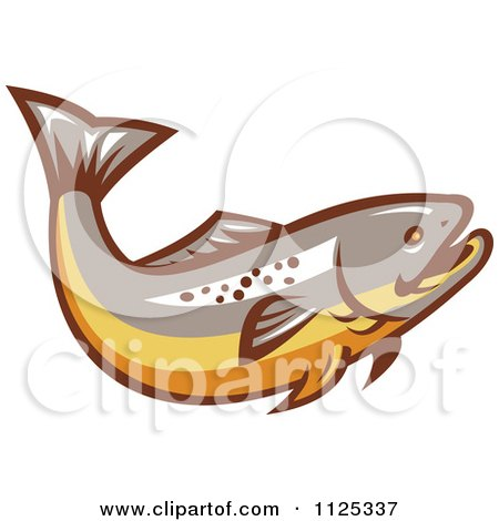 Clipart Of A Retro Trout Fish - Royalty Free Vector Illustration by patrimonio