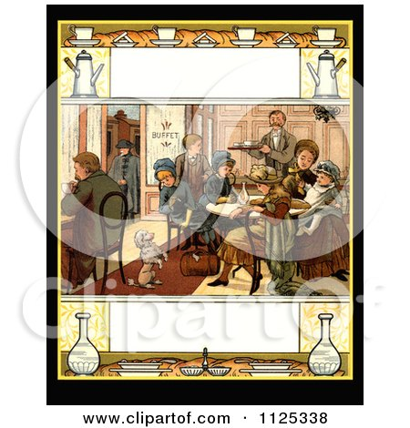 Clipart Of A Vintage Scene Of A Poodle Begging For Food While People Eat At A Buffet With
