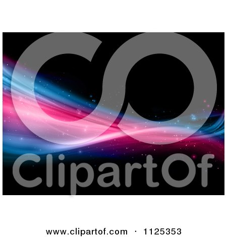 Clipart Of A Background Of Colorful Sparkling Waves On Black - Royalty Free CGI Illustration by KJ Pargeter