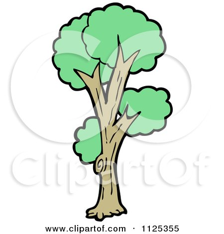 Cartoon Of A Tree With Green Foliage 9 - Royalty Free Vector Clipart by lineartestpilot