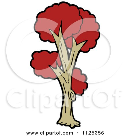 Cartoon Of A Tree With Red Autumn Foliage 5 - Royalty Free Vector Clipart by lineartestpilot