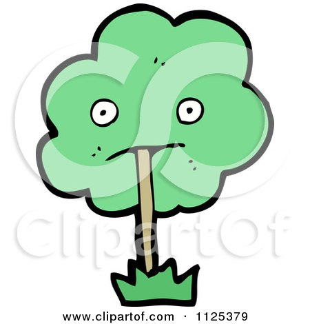 Cartoon Of An Ent Tree With Green Foliage 1 - Royalty Free Vector Clipart by lineartestpilot