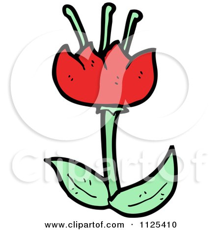 Cartoon Of A Red Tulip Flower 1 - Royalty Free Vector Clipart by lineartestpilot