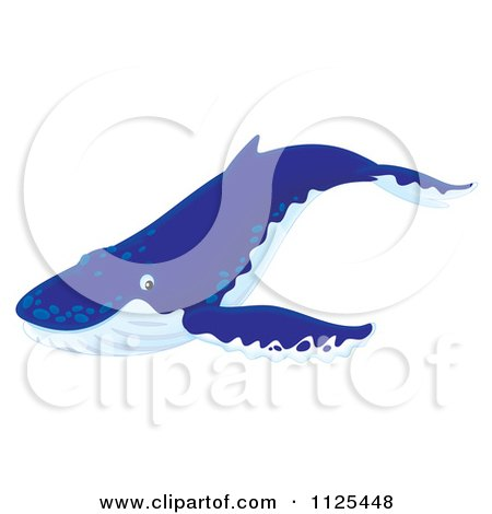 Cartoon Of A Happy Cute Humpback Whale - Royalty Free Clipart by Alex Bannykh