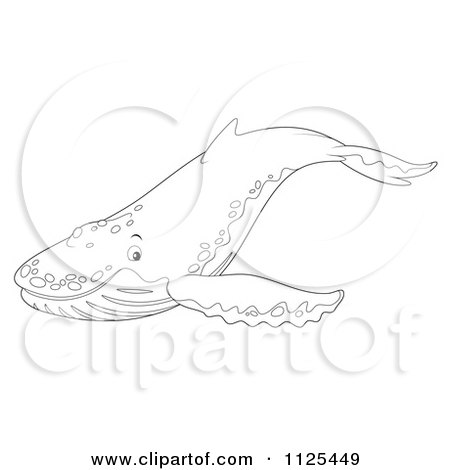 Cartoon Of An Outlined Happy Cute Humpback Whale - Royalty Free Clipart by Alex Bannykh