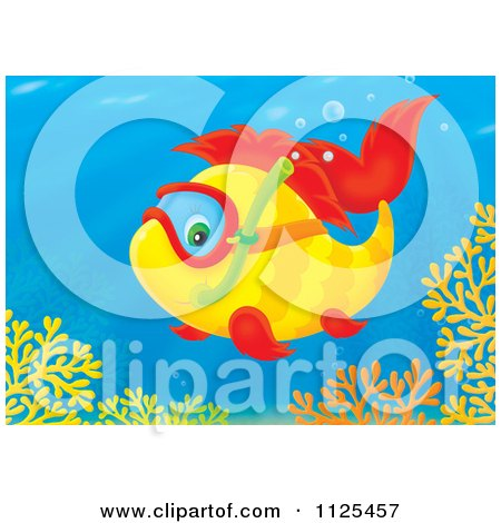 Cartoon Of A Happy Snorkeling Fish Above Corals - Royalty Free Clipart by Alex Bannykh