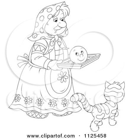 Cartoon Of An Outlined Woman Carrying A Smiley On A Tray Over A Cat - Royalty Free Vector Clipart by Alex Bannykh