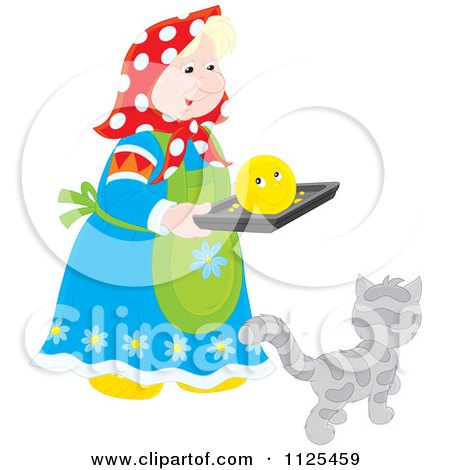 Cartoon Of A Woman Carrying A Smiley On A Tray Over A Cat - Royalty Free Vector Clipart by Alex Bannykh