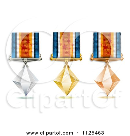Clipart Of Bronze Silver And Gold Crystal Place Award Medals - Royalty Free Vector Illustration by merlinul