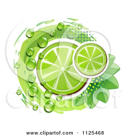Clipart Of Lime Slices Dew Leaves And Halftone On White - Royalty Free Vector Illustration by merlinul