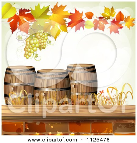 Clipart Of An Autumn Wine Barrel Leaf And Grapes Background 1 - Royalty Free Vector Illustration by merlinul