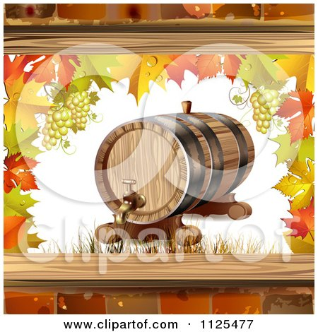 Clipart Of An Autumn Wine Barrel Leaf And Grapes Background 2 - Royalty Free Vector Illustration by merlinul