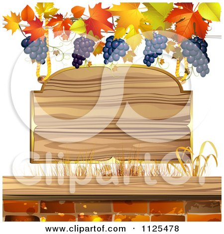Clipart Of A Wooden Sign With Autumn Maple Leaves Grapes And Bricks - Royalty Free Vector Illustration by merlinul