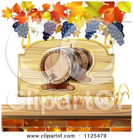 Clipart Of An Autumn Wine Barrel Leaf And Grapes Background 4 - Royalty Free Vector Illustration by merlinul
